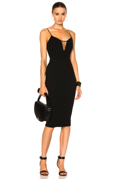 Matte Crepe & Tulle Sheer Insert Strap Fitted Dress