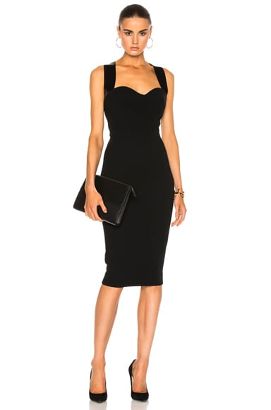 Matte Crepe Cross Back Cami Fitted Dress
