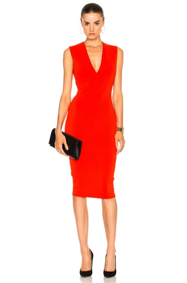 Matte Jersey Sleeveless V Neck Fitted Dress