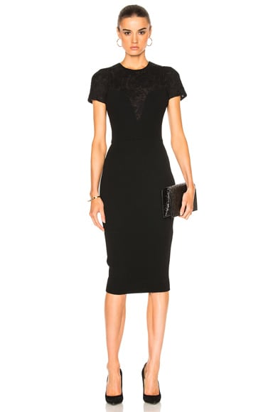Matte Crepe & Lace Insert Short Sleeve Fitted Dress