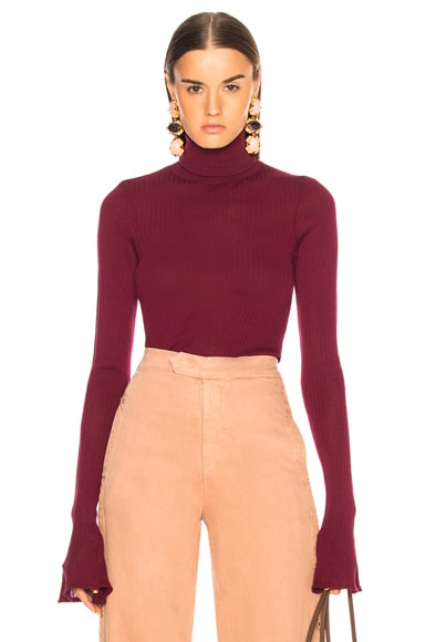 Sheer Rib Polo Neck Top