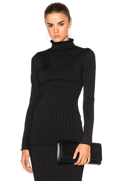 Elite Viscose Wide Rib Polo Neck Sweater
