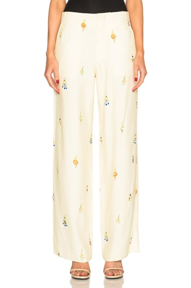 Drape Viscose Wide Leg Earring Print Trousers
