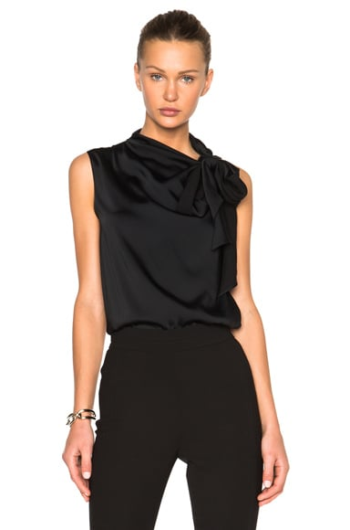 Heavy Matte Satin Sleeveless Tie Blouse