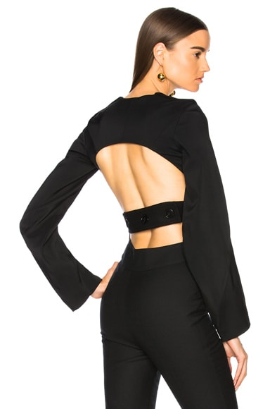 Soft Felt Long Sleeve Open Back Top