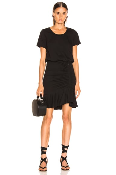 Pima Ruched Dress with Flounce
