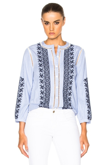 Claire Button Down Embroidered Top