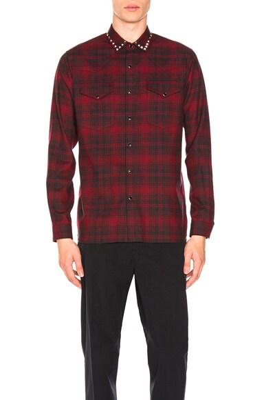 Studded Collar Plaid Shirt
