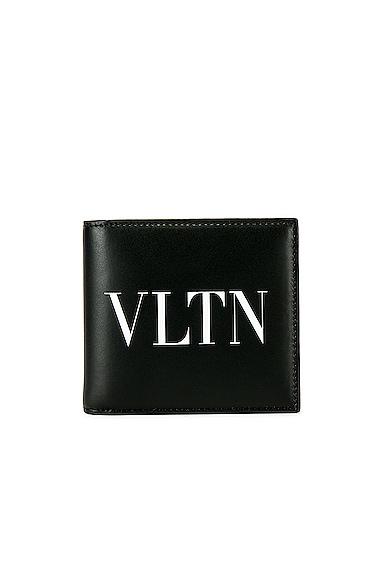 Valentino Vltn Logo-Print Bi-Fold Leather Wallet In Black & White