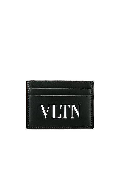 Valentino Vltn Logo Print Leather Cardholder In Black