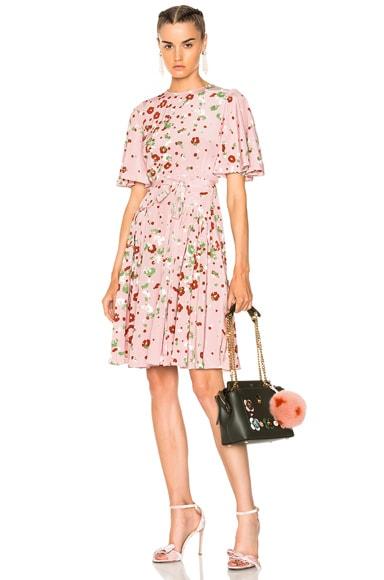 Daisy Print Crepe de Chine Mini Dress