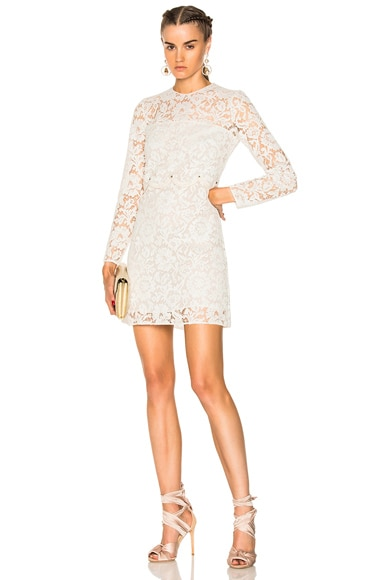 Heavy Lace Long Sleeve Mini Dress