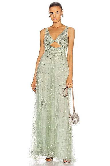 Valentino Embellished Gown in Argento & Malachite | FWRD