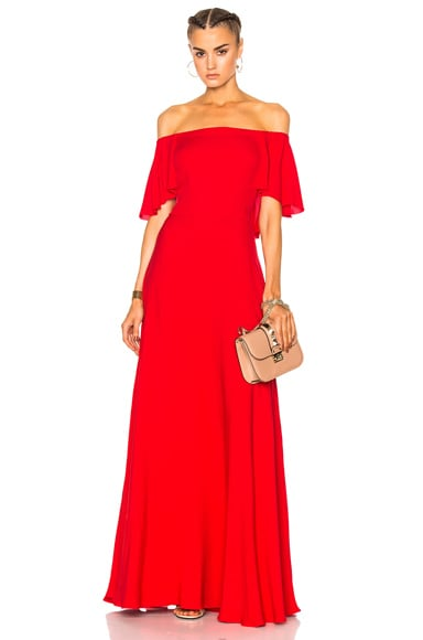 2644ed0ed0a Valentino Off Shoulder Gown in Red