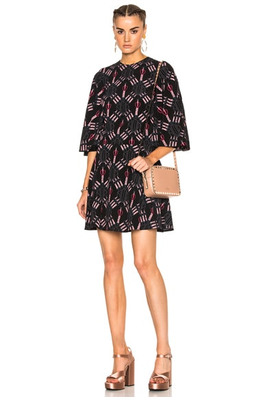 Heart Print Bell Sleeve Mini Dress