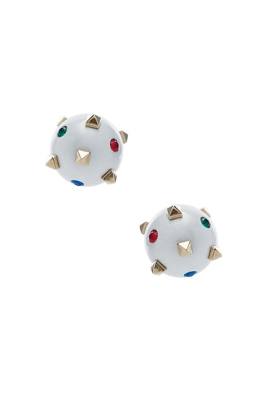 Embellished Pearl Stud Earrings