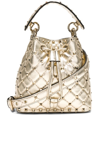 Small Metallic Rockstud Spike Bucket Bag