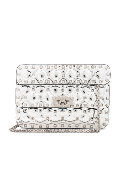 Small Metallic Quilted Rockstud Spike Shoulder Bag