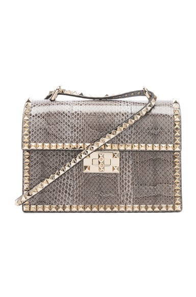 Small Snakeskin Rockstud No Limit Shoulder Bag