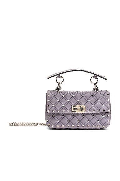 Small Rockstud Spike Velvet Shoulder Bag