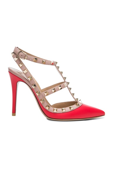 Rockstud Leather Slingbacks T.100