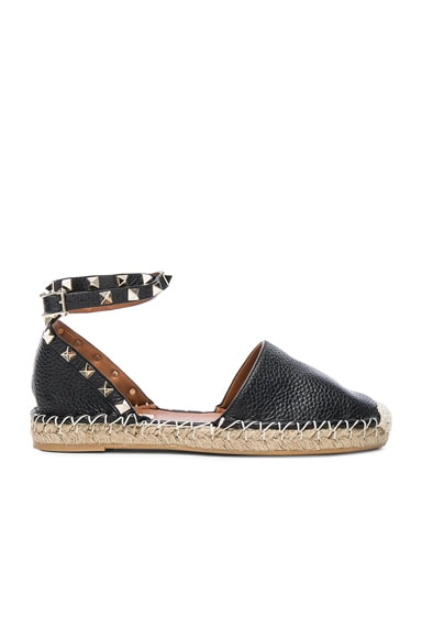 Rockstud Double Flat Leather Espadrilles in Black
