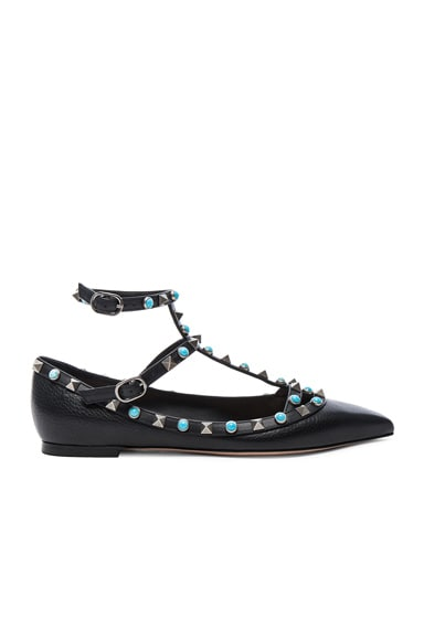 Rockstud Leather Rolling Cage Flats