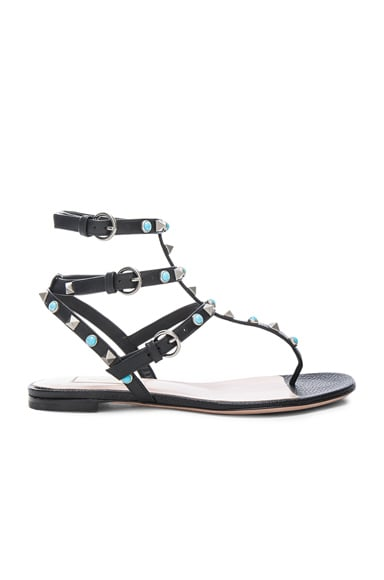 Rockstud Leather Rolling Thong Sandals