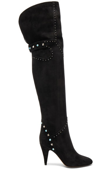 Studded Suede Over The Knee Boots