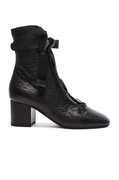Crinkled Leather Ballet Booties