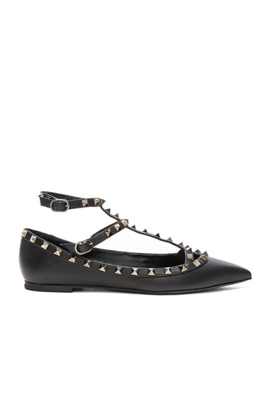 Rockstud Noir Leather Cage Flats