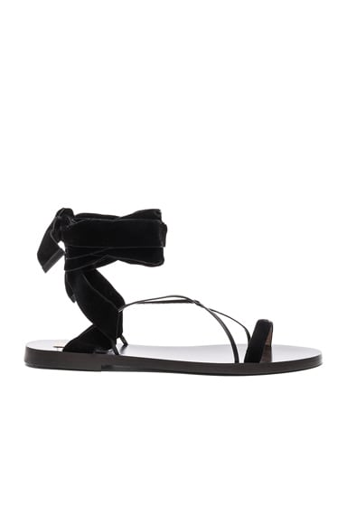 Flat Velour Ankle Tie Sandals