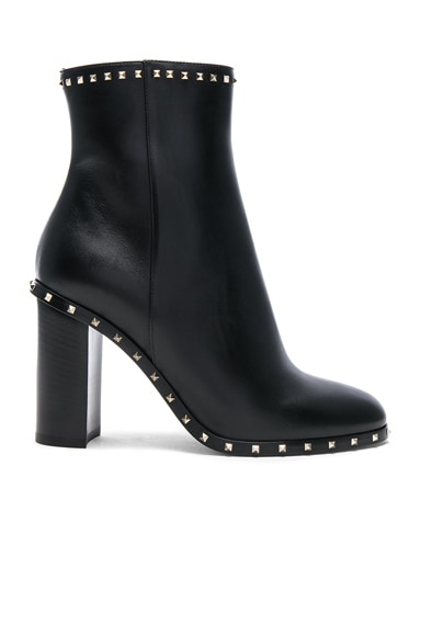 Leather Rockstud Trim Booties