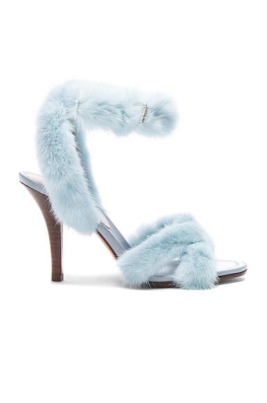 Mink Fur Ankle Strap Heels