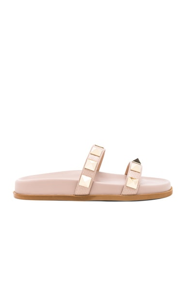 Leather Rockstud Lock Slides