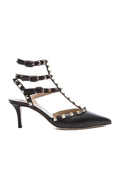 Rockstud Grained Leather Slingbacks T.65 in Schwarz