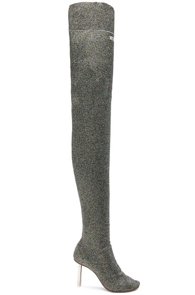 Lurex Thigh High Sock Boots