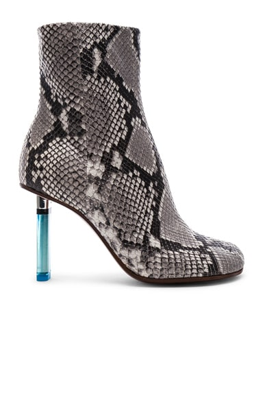 Python Embossed Ankle Toe Boots