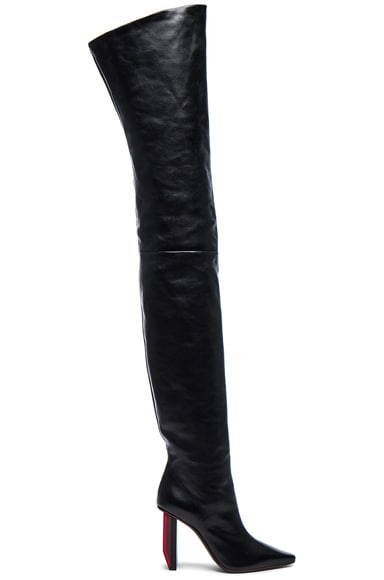 Reflector Leather Thigh High Boots