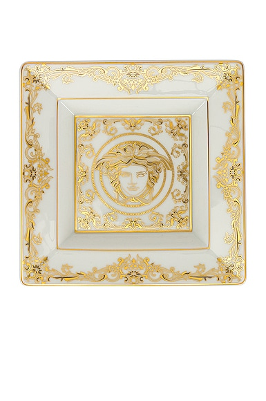 Versace Medusa Gala Tray 5 1/2 Inch In White & Gold