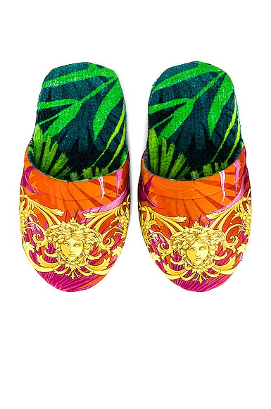 Versace Jungle Slippers In Green Print