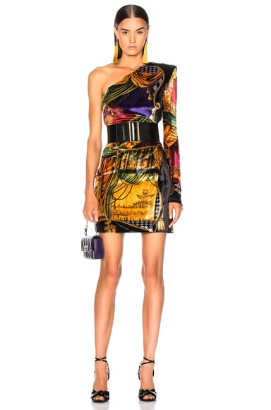 Printed One Shoulder Mini Dress