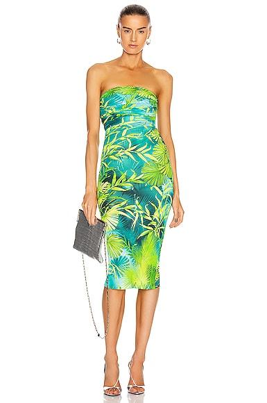 Palms Strapless Midi Dress
