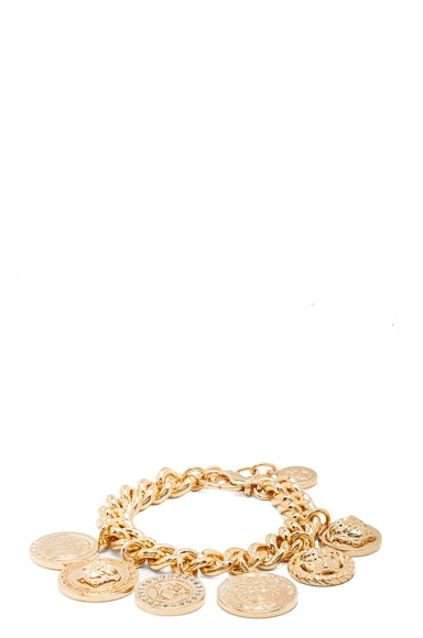 Medusa Plated Coin Charm Bracelet