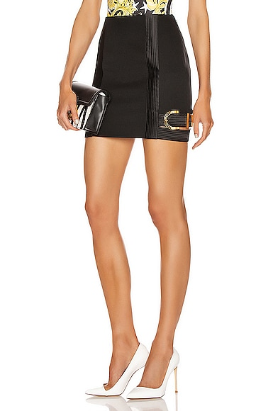 VERSACE Buckle Mini Skirt in Black | FWRD