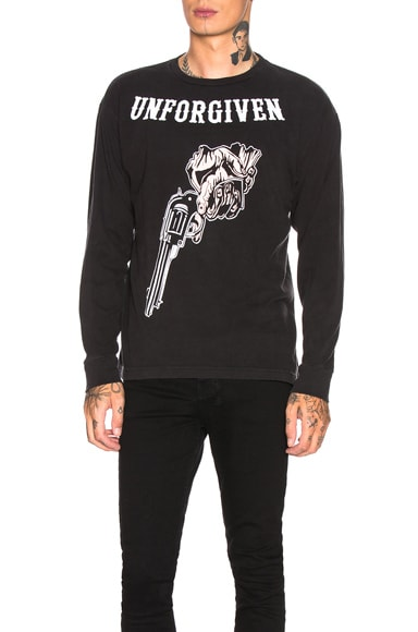 Distressed Long Sleeve Graphic Tee