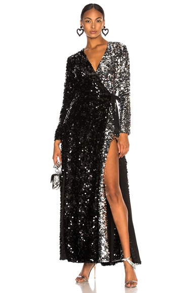 Contrast Sequin Wrap Dress