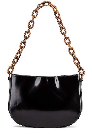 Pelle Semi Patent Leather Shoulder Bag