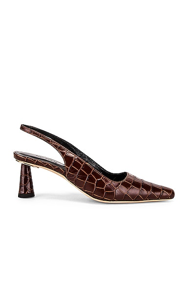 Diana Nutella Croco Embossed Leather Heel