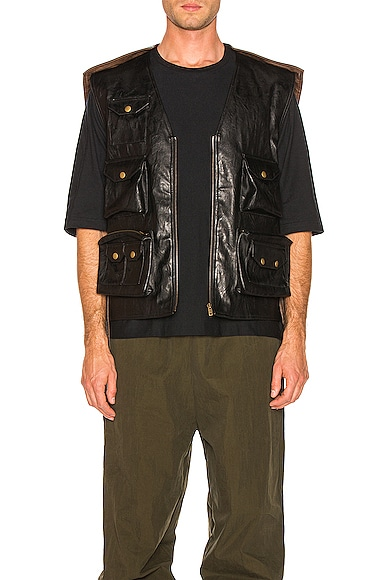 Faux Leather Hunting Vest